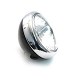 black n chrome head light with halogen bulb for many mopeds