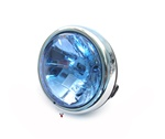 black n chrome head light with halogen bulb for many mopeds - blue lens