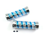 blue & sparkling chrome snake skin candy cane grips