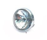 chrome head light with halogen bulb for many mopeds