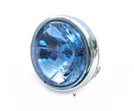 chrome head light with halogen bulb for many mopeds - blue lens