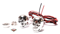 chrome DEATH'S HEAD led lights - YELLOW