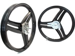 "17"" black grimeca style three star mag wheel set"
