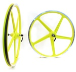 "grimeca 26"" yellow bicycle mag wheel set"