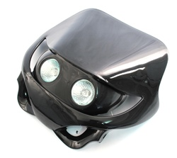 black dual wide eyed headlight fairing